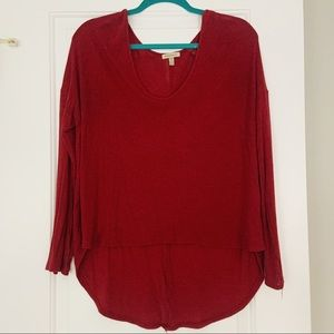 Red Scoop Neck Long Sweater